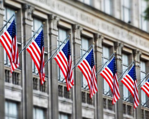 US flags hanging outside state buildig