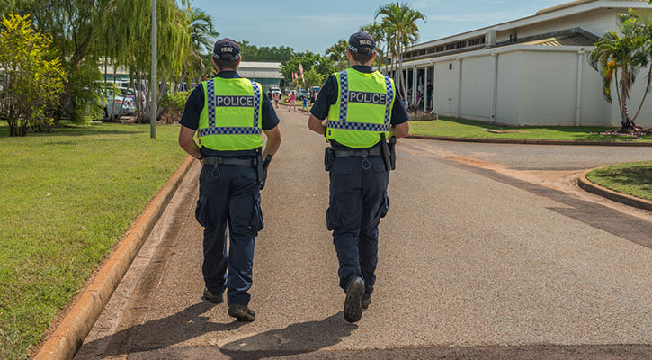 Australian police officers looking for cannabis