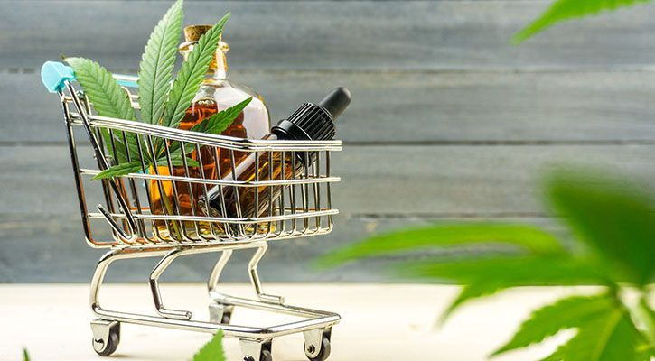 CBD oil and cannabis products in a shopping cart