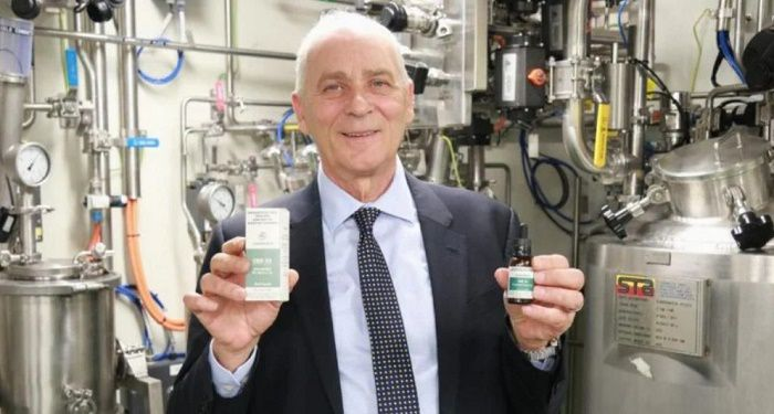 Ken Charteris CEO of THC Global looking quite pleased with his cannabis products
