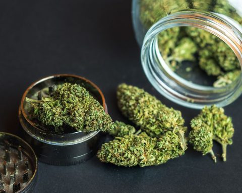 Cannabis falling out of a jar