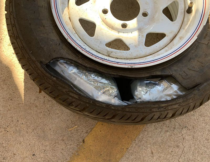 Cannabis stashed into tyres