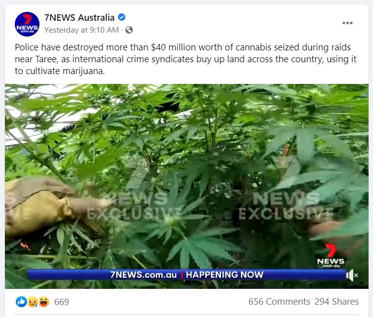 7 News sharing the story on Facebook