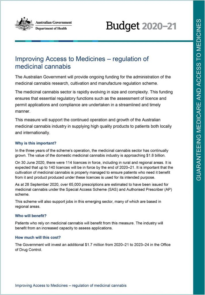 Australian government supporting medical cannabis announcement