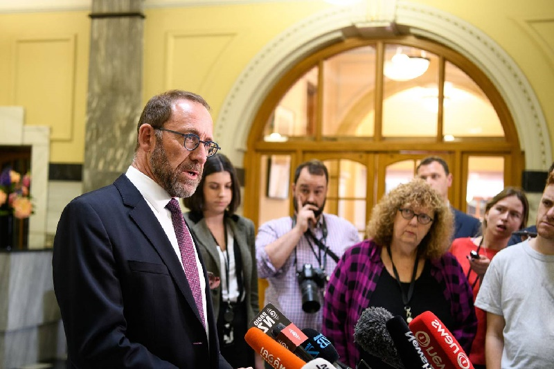 Justice Minister Andrew Little delivering the results of the cannabis referendum