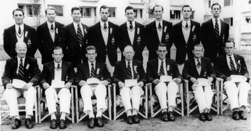Riley seated 3rd from left in the 1952 Olympic Rowing Squad