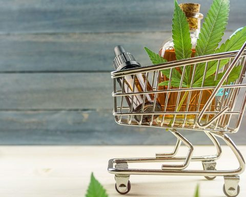 Shopping cart with cannabis