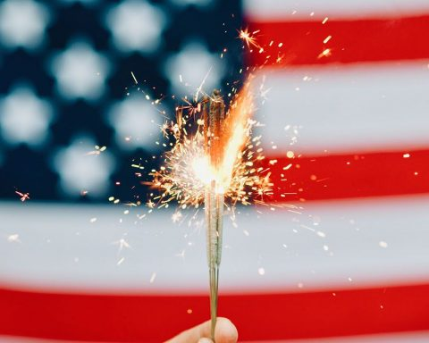 Sparkler on an american flag background
