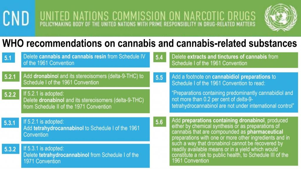 WHO cannabis recommendations