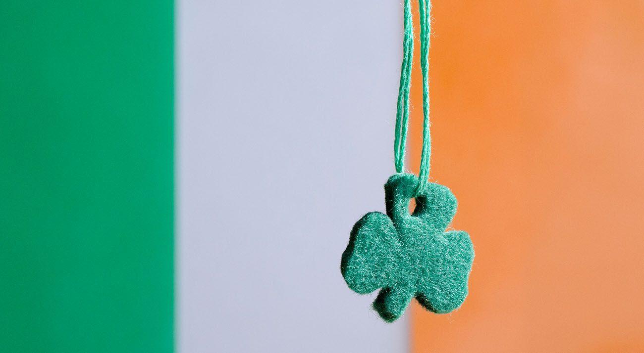 Ireland flag with four leaf clover