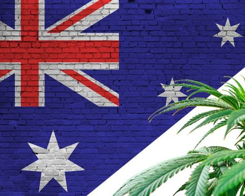 Australian flag with cannabis