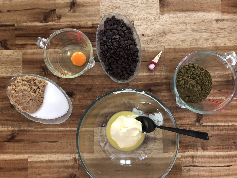 Ingredients for hemp chocolate chip cookies