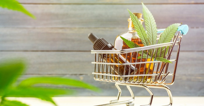 Shopping trolley with cannabis