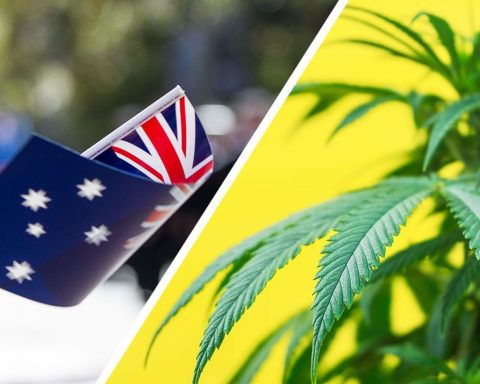Australian waving flag and cannabis plant