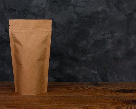 Plain brown bag of coffee