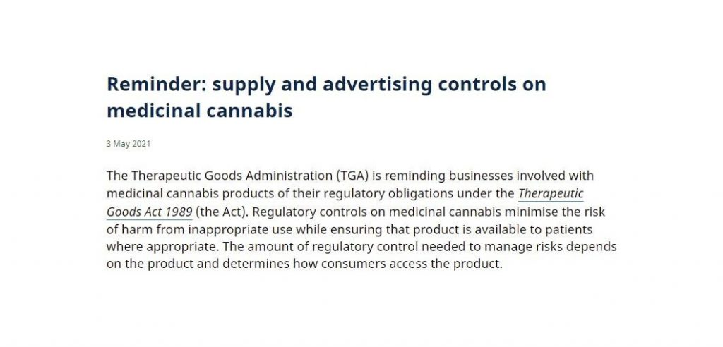 TGAs reminder on advertising medical cannabis