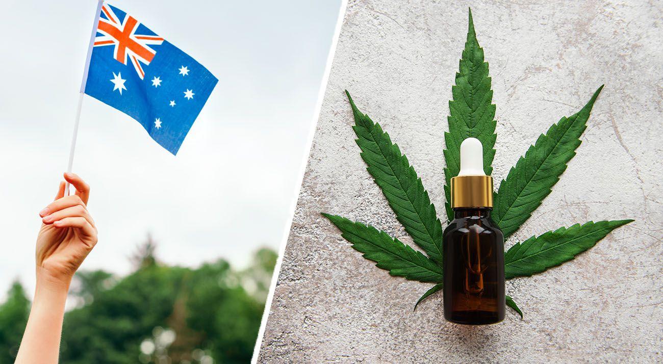 CBD oil with cannabis leaf and Australian flag