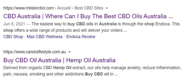 Shops claiming to sell CBD online in Australia